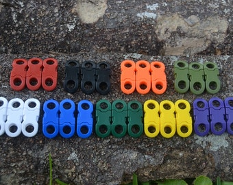 """Paracord necklace buckles or lanyard buckles 1/4"""" hole 50 Pcs Your choice of 9 Vibrant colors"""