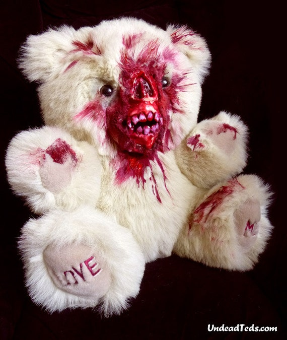 Fluffy UnDeadTed with chewed-off face. He just wants someone to love.