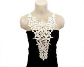 FREE SHIPPING- Luxury Collar, Handmade Cotton Lace, Crochet necklace - Woman Accessories - Cream Color -Big Necklace- Woman Applique - OOAK - HAREMDESIGN