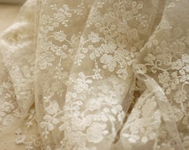 Floral Tulle Lace Fabric Off White Flowers Embroidered Lace Fabric 55 Inches Wide 1 Yard Wedding Dress Veil Home Decor Costume Supplies
