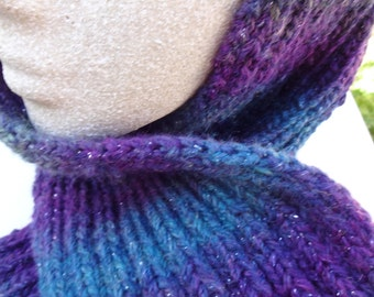 Hand made scarf in teal, purple and gray-READY TO SHIP