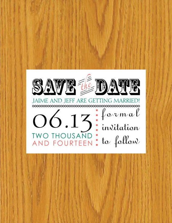 Digital printable save the date template by jennielynnedesigns for Electronic save the date templates
