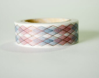 Red & Blue Argyle Washi Tape