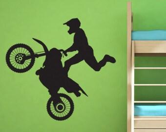 Dirt Bike Rider Motocross Vinyl Wall Decal Motorcycle Vinyl Wall Decal