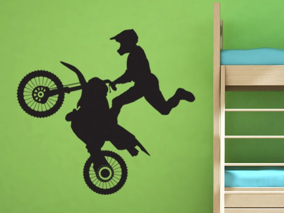 Dirt bike rider motocross vinyl wall decal motorcycle vinyl for Dirt bike wall mural