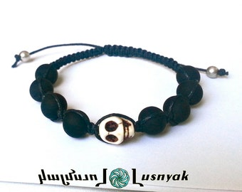 SKULL Shamballa Bracelet with Matte Beads for men and women, guy and girl, stackable and adjustable Lusnyak