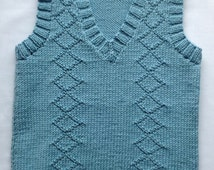 Knitted Tank Top, Boys Toddler Vest Sweater,  Blue Pullover, Baby Jumper, From Birth to 3 Years,  Made to Order