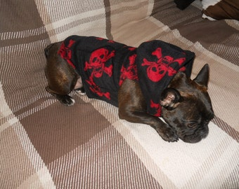 French Bulldog / Dog, Red Skull Polar Fleece Hoodie with Pocket.
