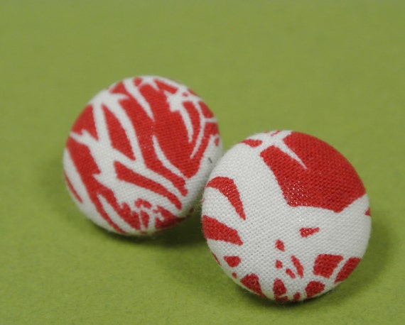 red and white button earrings