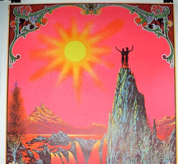 Black Light Poster Vintage Psychedelic Garden of Eden Poster