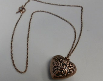 Bronze Puffed Heart Necklace