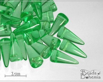 10 pcs Light Green Transparent Czech Glass Spike Beads 14x6mm (7315)