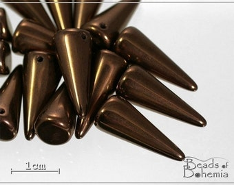 Metallic Chocolate MAXI Czech Glass Spike Beads 21x9 mm, 6 pcs (7661)