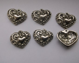 6 pc. Antique Silver Metal Heart Charms