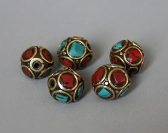 10pcs Nepal Tibetan Brass Bead With Turquoise Coral Inlay 10mm - A02