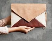 Clutch bag Letter Medium beige toffi brown - purse / handbag - vegan / eco / faux / leather / suede - with strap / pocket - bridesmaid