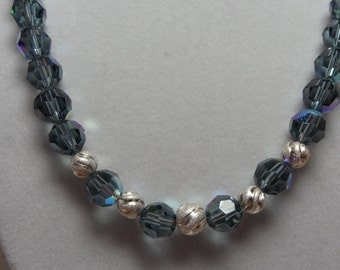 Montana Blue or Jet Black AB Swarovski Crystal Necklace with Sterling Accents