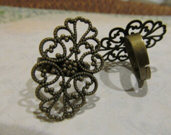 Antique Brass Filigree Adjustable Ring Settings