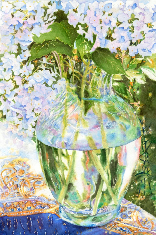 Flowers in vase hydrangeas watercolor print spring by for Spring flowers watercolor