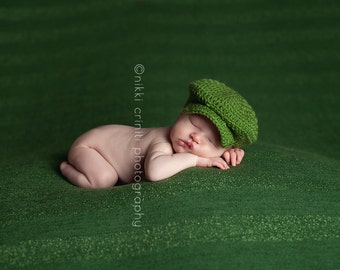 Crochet Baby Hat - Golf Hat - Drivers Cap - Irish Flat Cap - Newborn Photo Prop