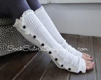 SALE! Leg Warmers with Ivory Lace, wear like Boot Socks too!