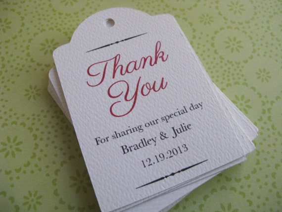 Wedding Favor Tags Messages : Wedding Favor Tags, Custom Shower Tags, Thank You, Personalized Gift ...