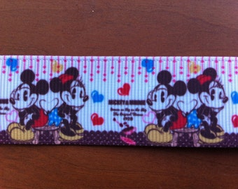 "Ribbon  1"" inch,""Mickey, Minnie"""