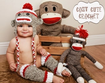 Sock Monkey Hat  & Leg Warmers Set- Made to Order - Crochet Hat - Leg Warmers - Boy or Girl - Photo Prop - Sock Monkey Outfit