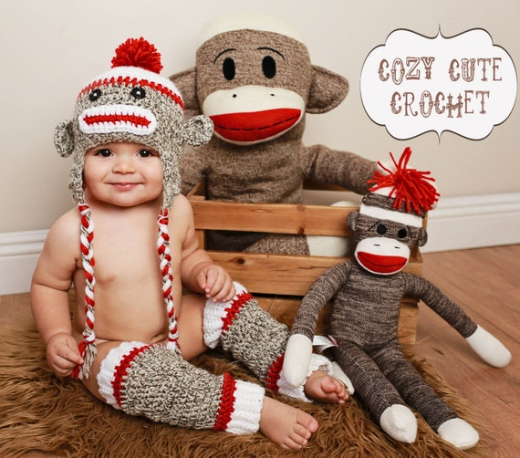 9f3210b851d Sock Monkey Hat   Leg Warmers Set- Made to Order - Crochet Hat - Leg