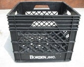 Vintage BORDEN plastic milk crate - black - dairy crate- storage crate- industrial crate- Elsie the cow
