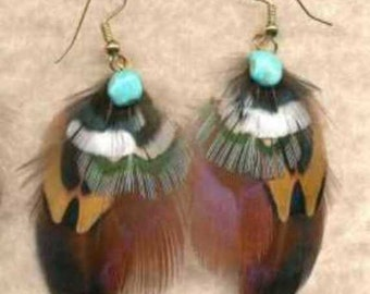 CUSTOM Handmade Feather Earrings - Ring-Necked Pheasant - OFFSET Version