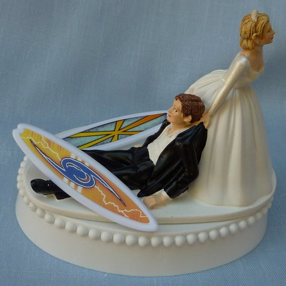 surfer wedding cake topper wedding cake topper surfing surfboard surfer groom themed w 20657
