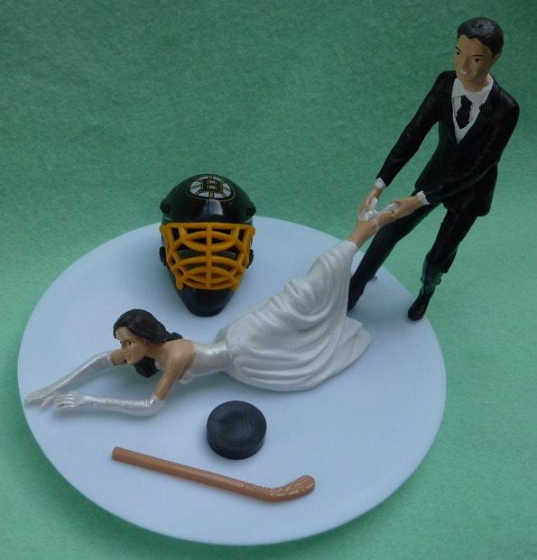 Wedding Cake Topper Boston Bruins G Hockey Themed w/ Bridal
