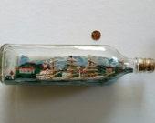Vintage Handmade Ship in a Bottle