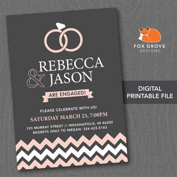 Printable engagement party invitation by foxgrovedesigns for Etsy engagement party invites