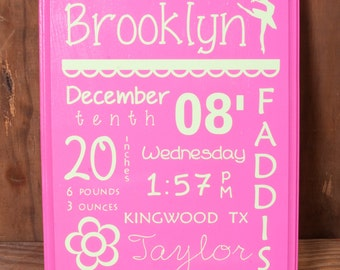 Personalized Wood Baby Birth Stat Announcement
