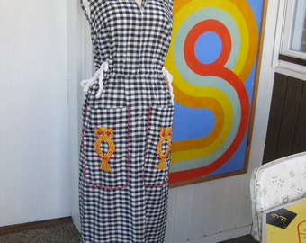 60s Checkered Owl Dress by Loll Ease (M-L)