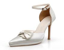 Custom Made Ivory Satin High  Pointy Heels. Satin Pointy Toe Wedding Shoes. Satin Bridal Heels. Blush Wedding Shoes. Custom Made  Shoes