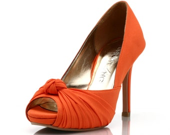 Custom Made Wedding Heels, Orange Wedding Heels, Pumpkin Colored Wedding Shoes, Knotted Wedding Heels, Orange Colored Heels