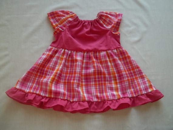 100% Cotton Pink Plaid Baby Girl Frilly Peasant Dress Size 6-24 months
