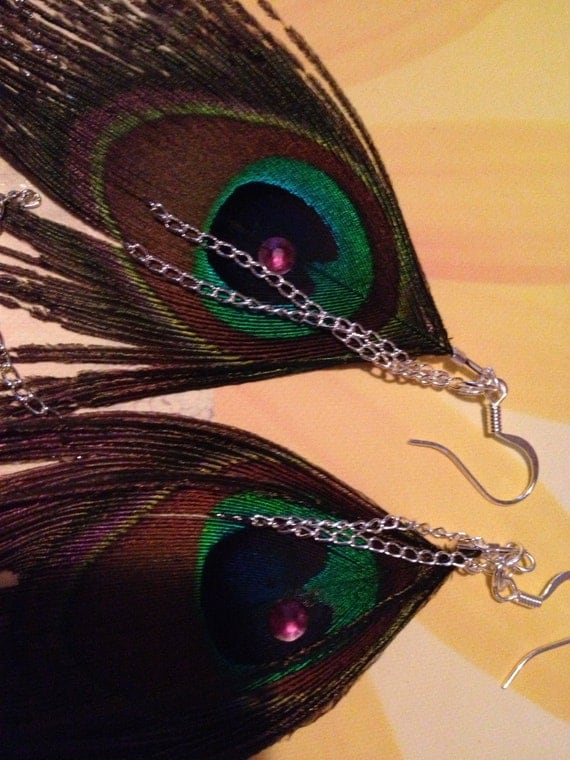 Sterling silver peacock feather earrings