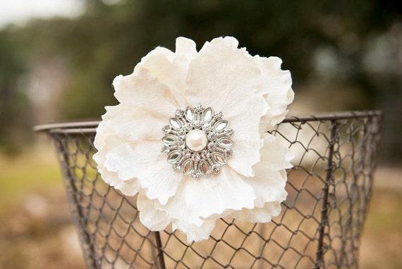 Classic Off-White Velvet Ruffled Bridal Flower // Floral Wedding Hair Clip