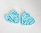 Polymer light cyan heart star faux knitting earrings