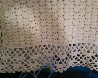 Crocheted Baby Afghan, Lacy White, Special Memories - 34 x 48