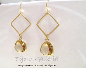 Gold Plated Square with Sparkle Champagne Peach  Gemstone Drop Earrings