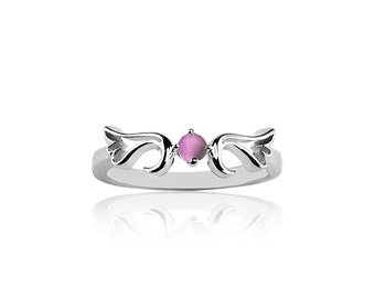 June - Synthetic Alexandrite  Guardian Angel Protection Ring