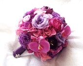 Purple Wedding Bouquet. Peony Wedding Bouquet. Purple and Pink Peony Rose Hydrangea Orchid Lisianthus Bridal Bouquet