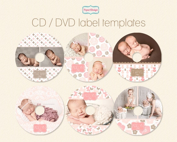 instant download cd  dvd label templates shabby by popuridesign