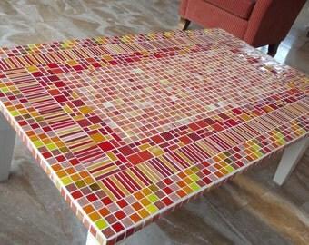 mozaiek kofietafel, salontafel, rode tafel, mosaic coffee table mosaics mosaic coffetable