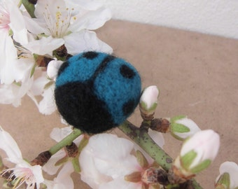 Blue Lady bug, needle felted, magnet, i-man, Birthday Party favor